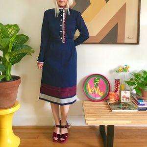 Vintage 70s mod striped long sleeve knit dress ML